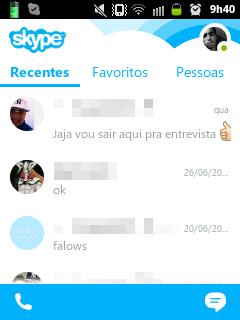 Página Inicial Skype Mobile