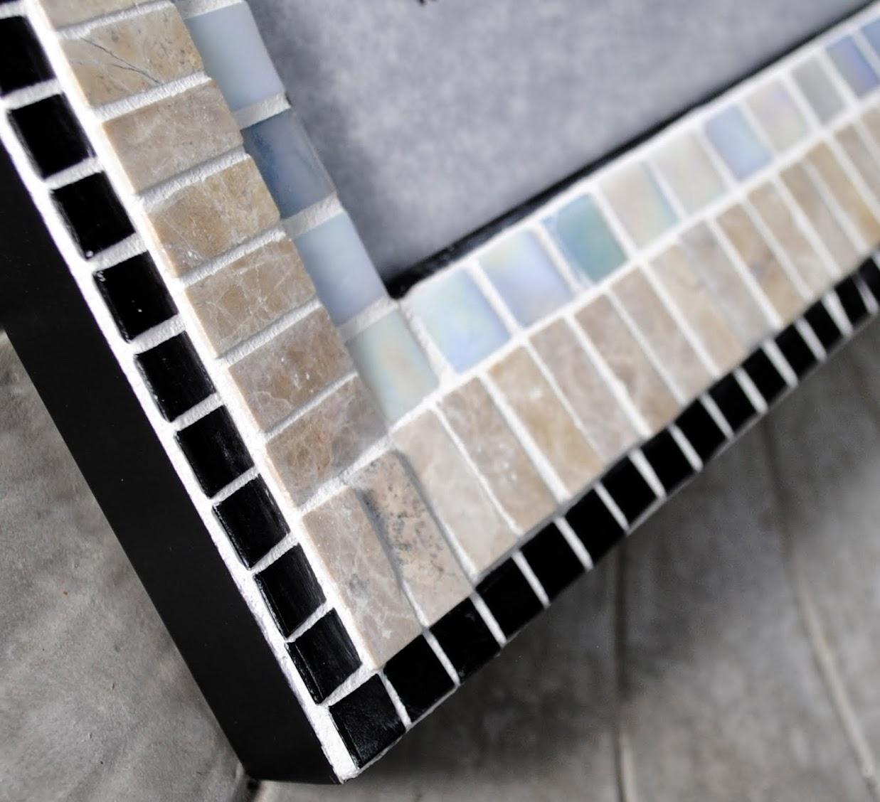 "Ivory, Sandstone & Onyx 8"" x 10"" Mosaic Photo Frame MOF1394"