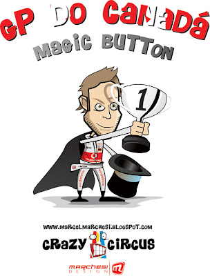 магия Дженсона Баттона на Гран-при Канады 2011 карикатура Crazy Circus Marchesi Design