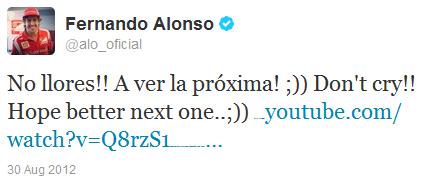 Фернандо Алонсо в твиттере отвечает плачущему мальчику