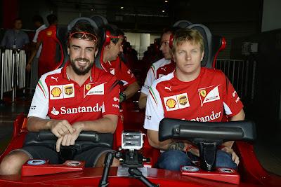 Фернандо Алонсо и Кими Райкконен на Formula Rossa перед Гран-при Абу-Даби 2014