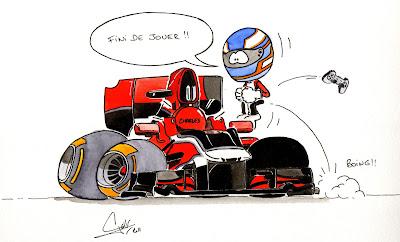 Шарль Пик запрыгивает в кокпит Marussia - комикс Quentin Guibert