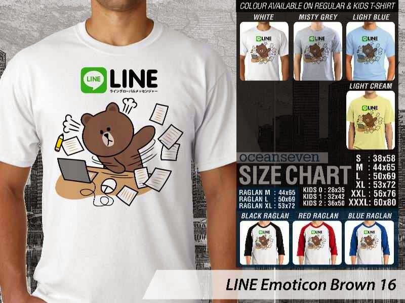 KAOS IT LINE Emoticon Brown 16 Social Media Chating distro ocean seven