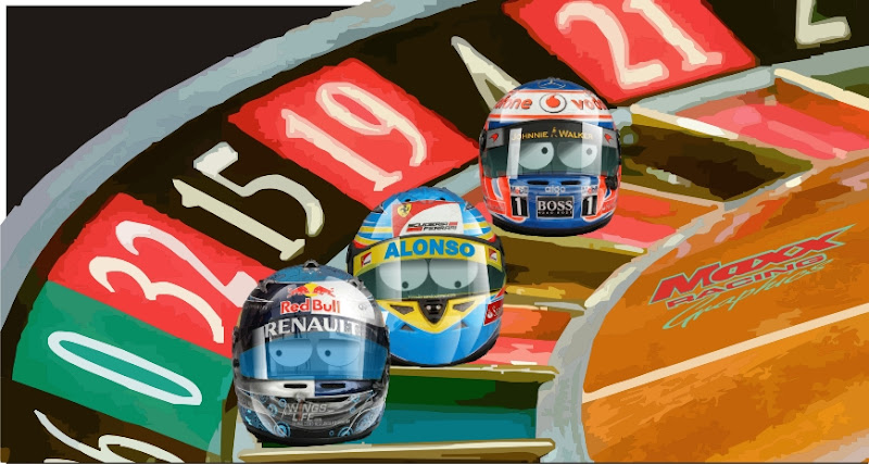 Себастьян Феттель Фернандо Алонсо и Дженсон Баттон на рулетке казино Гран-при Малайзии 2011 Maxx Racing