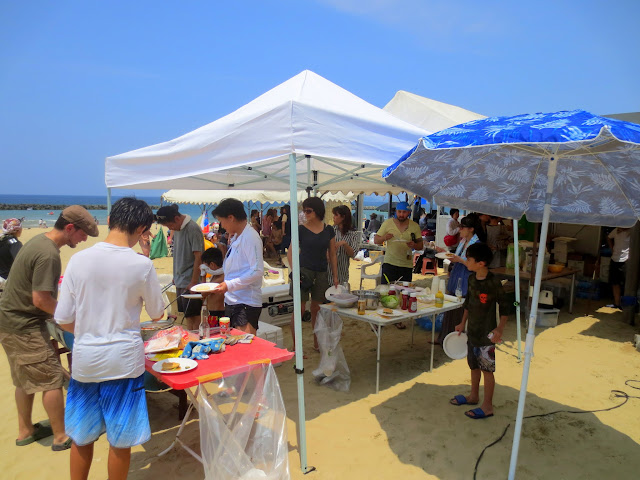 The Rainbow Bridges school BBQ at Shingu Beach