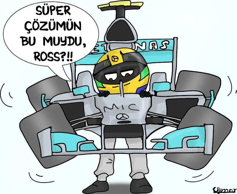 Льюис Хэмилтон несет свой Mercedes во избежании расхода резины Pirelli на Гран-при Испании 2013 - комикс Omer