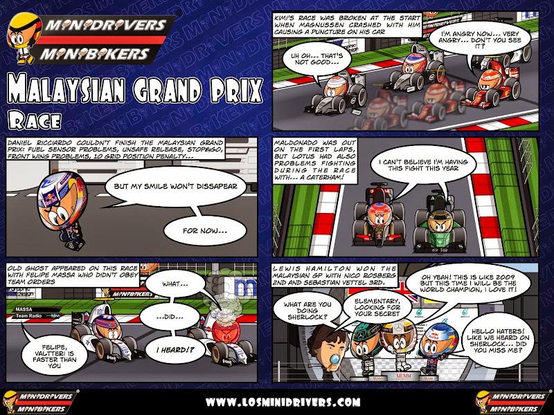 комикс MiniDrivers по гонке на Гран-при Малайзии 2014