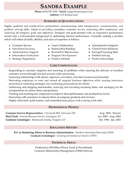 resume summary of qualifications customer service - Example Qualifications For Resume