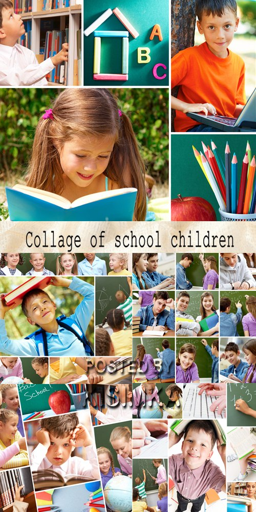 Stock Photo: Collage of school children