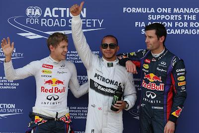 Себастьян Феттель, Льюис Хэмилтон и Марк Уэббер после квалификации на Гран-при Германии 2013
