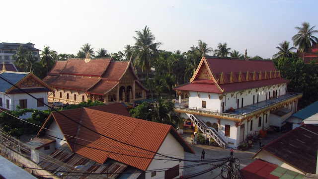 A temple complex visible from our guesthouse in Vientiane.
