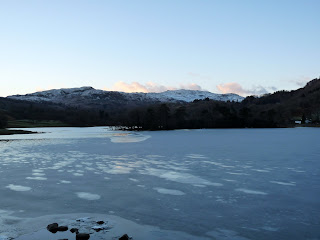 Almost totally frozen at this end of Rydal Water