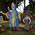 Ned as the Sorcerer's Apprentice with some scarecrows at Tamborine Mountain Scarecrow Festival