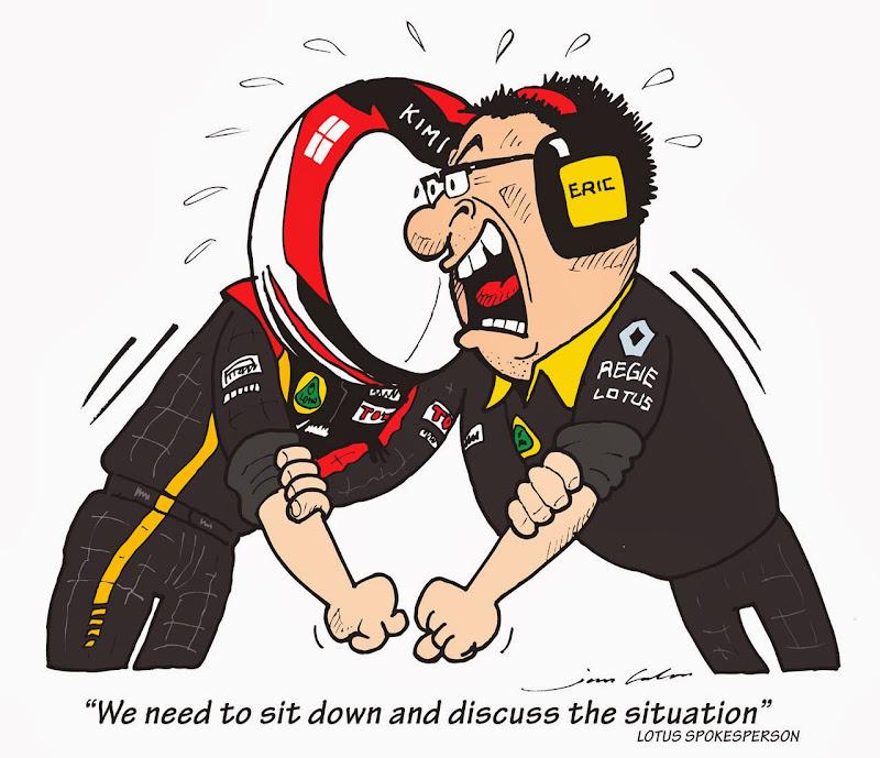 на Кими Райкконен ругается команда - комикс Jim Bamber по Гран-при Индии 2013