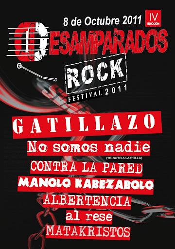 Cartel del festival Desamparados Rock IV para el sábado 8 de octubre de 2011 en Desamparados, Orihuela