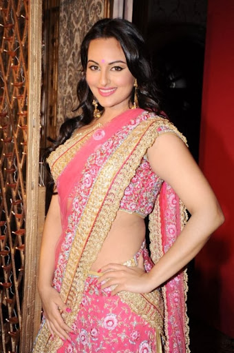 Sonakshi Sinha in Indian Pink Saree Photoshoot