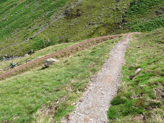 The zig-zags up the Stake Pass. David and I discussed the quality of the new path ... although a lot of work is going into the new course of the path we doubt it will last for many years to come.