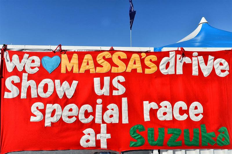красный баннер для Фелипе Массы на Гран-при Японии 2013