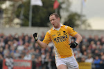 Clontibrets Captain Vinnie Corey Celebrating after getting a point against Magheracloones  in the Gormley uPVC Monaghan Senior Football Championship Final game in Inniskeen. Pic Philip Fitzpatrick.