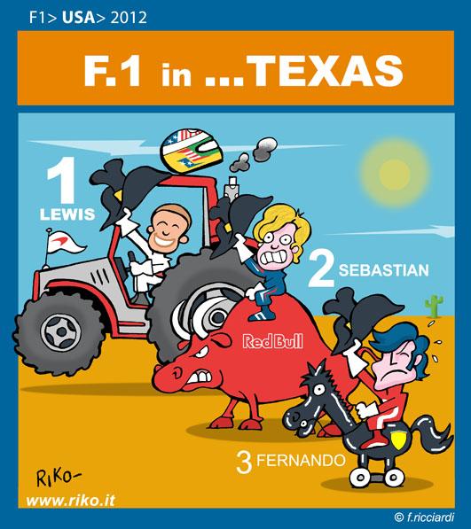 Льюис Хэмилтон Себастьян Феттель Фернандо Алонсо McLaren Red Bull Ferrari - комикс Riko по Гран-при США 2012