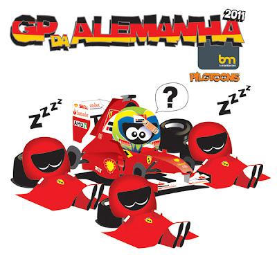 механики Ferrari спят на пит-стопе Фелипе Массы на Гран-при Германии 2011 pilotoons