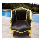 Bergère de style Louis XV tissu velours noir et bois doré