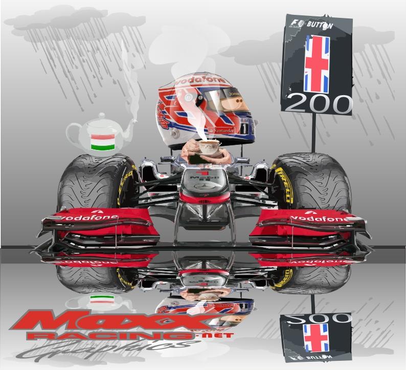 время чая для гонщика McLaren Дженсона Баттона на Гран-при Венгрии 2011 Maxx Racing
