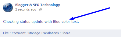 Blue font in Facebook status