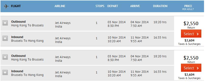 香港去布魯塞爾 HKD$2,550起($5,154連稅)