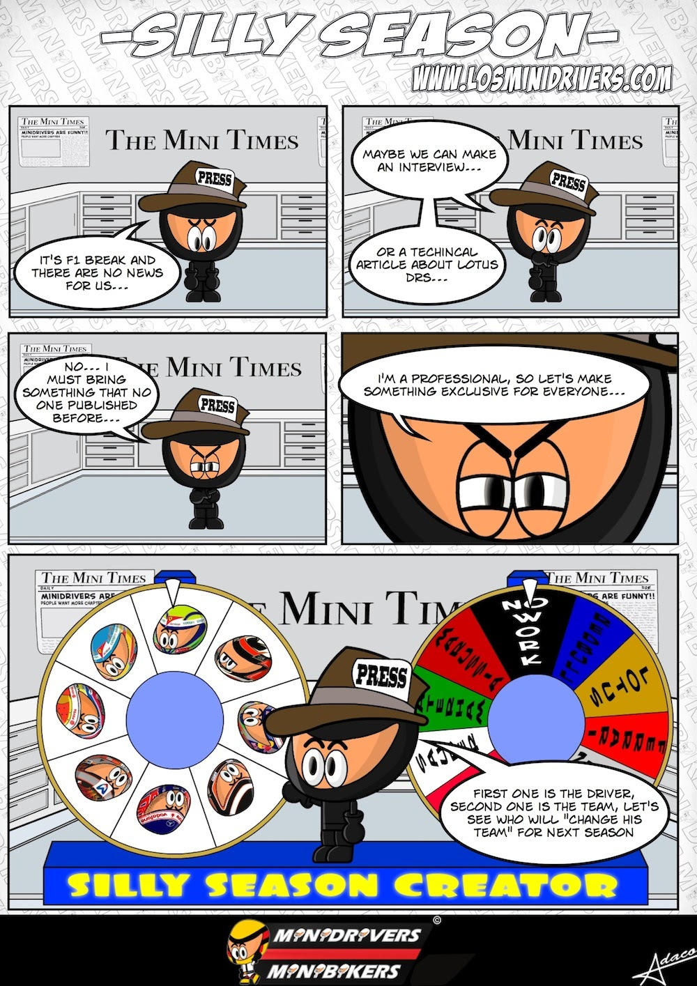 комикс о прессе Формулы-1 от MiniDrivers