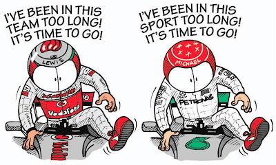 Льюис Хэмилтон и Михаэль Шумахер уходят из McLaren и Mercedes - комикс Jim Bamber