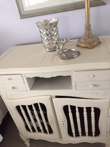 side table painted with Annie Sloan Old White