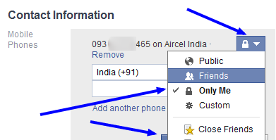 Mobile setting in Facebook