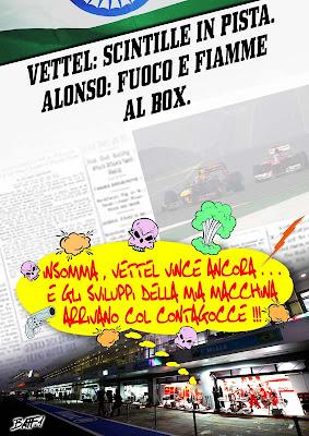 Фернандо Алонсо в боксах Ferrari после Гран-при Индии 2012 - комикс Baffi