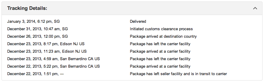 Amazon tracking page for Singapore delivery by i-parcel