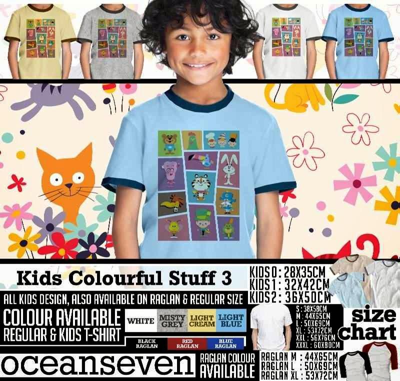 Kaos anak Kids Colourful 3 Lucu Gambar Animals Binatang distro ocean seven