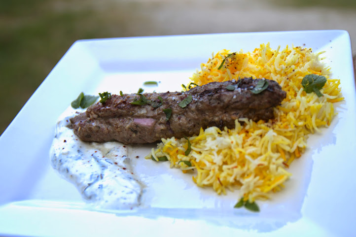 Lamb Kebab with Saffron Rice and Mint Yogurt Sauce