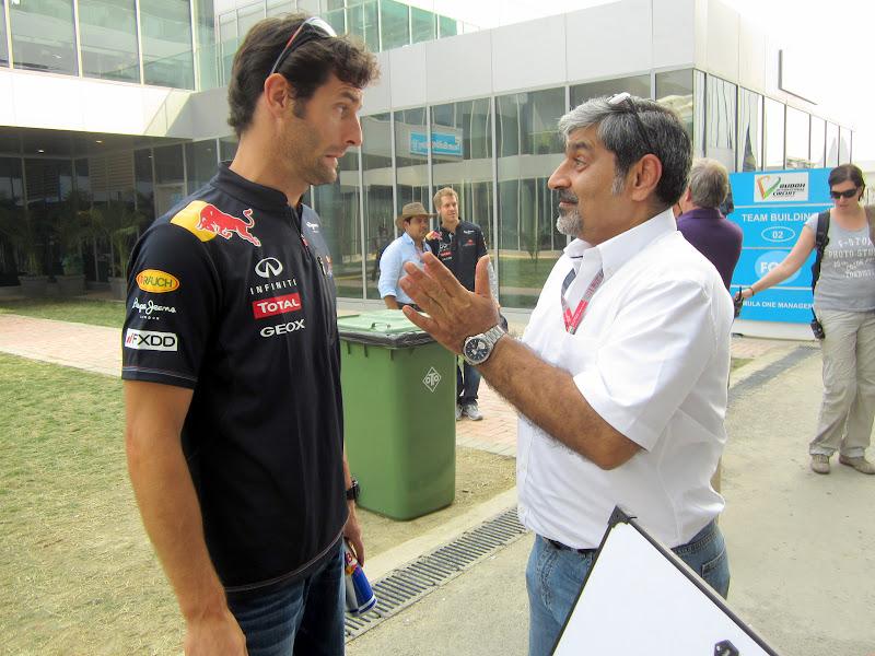 Марк Уэббер и Вики Чандхок на Гран-при Индии 2011