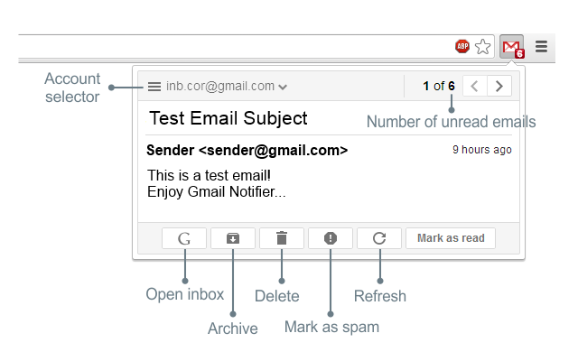 Gmail™ Notifier Screenshot