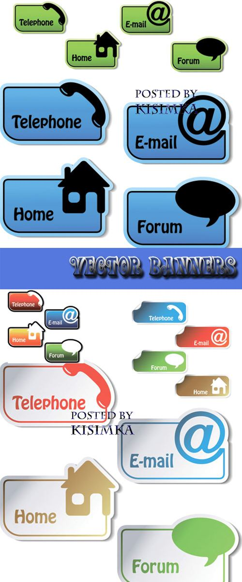 Stock: Vector banners - telephone, email, home, forum