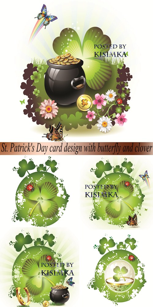 Vector: St. Patrick's Day card design with butterfly and clover