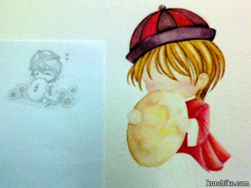 tai yang bing - watercolor process - pastry progress