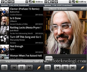 Tampilan layar Now Playing dan Library Winamp Android