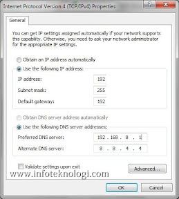 Layar DNS Setting di Windows 7