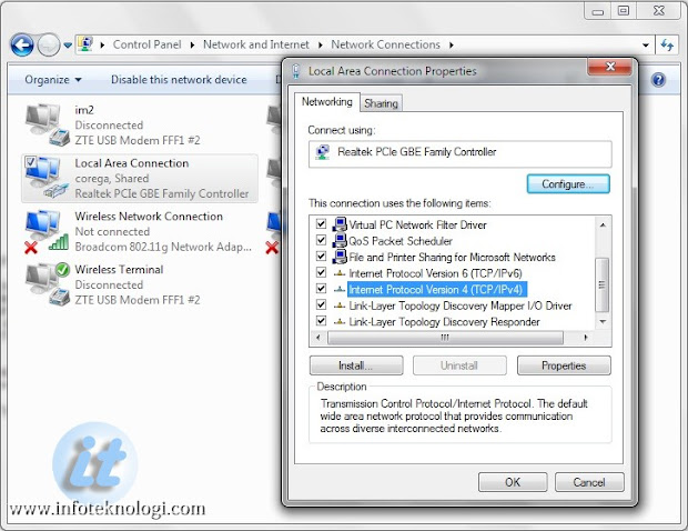 Setting DNS Server di Windows 7