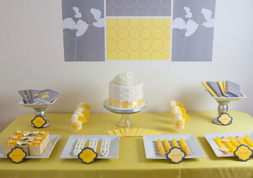 Yellow & Gray Dessert Table