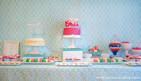 Lovely Pink & Aqua Dessert Table