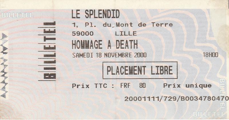 Hommage à Chuck Schuldiner @ Le Splendid, Lille 18/11/2000