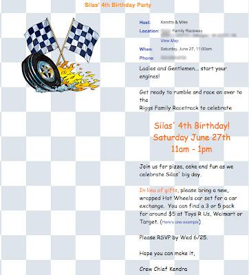 The Evite invitation