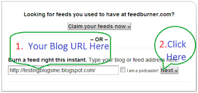 how to setup blogger feed to feedburner feed